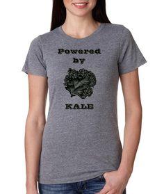 Womens Kale tshirt Sale Screen Printed Ladies shirt Vegan Clothing Veggie Powered by Kale Gray and Black Farmers Market Shirt