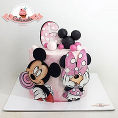 Mickey & Minnie by Cake Bolo Mickey, Mickey And Minnie Cake, Mickey Cakes, Minnie Mouse Cake, Mickey Birthday Cakes, Minnie Mouse Birthday Theme, Minnie Mouse 1st Birthday, Buttercream Cake Designs, Friends Cake