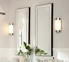 Astor Mirror | Pottery Barn - option for lower level bath - frame in with glass subway tile