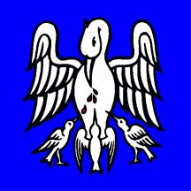 Symmetrical pelican in her piety