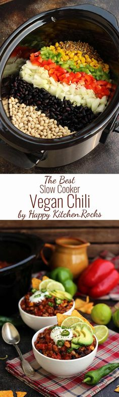 The Best Slow Cooker Vegan Chili Recipe is wholesome, delicious and easy to make. Comforting and healthy freezable dinner packed with nutrients and flavors! #chili #vegan #slowcooker #vegetarian #mealprepping #dinnerrecipes #thanksgivingrecipes #comfortfo http://healthyquickly.com/55-supreme-vegan-recipes-dinner/