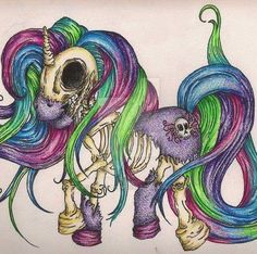 My little pony is a zombie ! Unicorn Drawing, Unicorn Art, Arte Horror, Horror Art, Evil Unicorn, Zombie Tattoos, Unicorn Tattoos, Octopus Tattoos, My Lil Pony