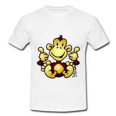 Monkey with four thumbs up on a T-Shirt. #Spreadshirt #Cardvibes #Tekenaartje