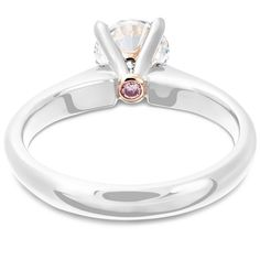 Hidden Pink Diamond - Diamond Solitaire Engagement Ring from LeGassick