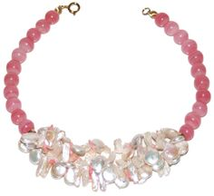 Helga Wagner Translucent Pink Rhodochrosite beads with Coin and Biwa Fresh Water Pearls and Pink Coral chips