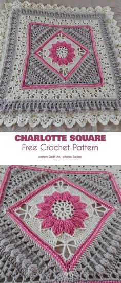 Charlotte Square Free Crochet Pattern This version uses Charlotte Square in the. Charlotte Square Free Crochet Pattern This version uses Charlotte Square in the middle, as the bas Granny Square Crochet Pattern, Crochet Blocks, Crochet Squares, Granny Squares, Manta Crochet, Crochet Mandala, Stitch Crochet, Crochet Stitches, Crochet Edgings