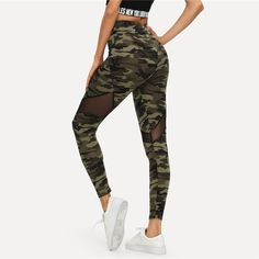 beee016fe WOMENS MULTI COLOR MESH INSERT CAMO PRINT LEGGINGS SPORTING PATCHWORK SHEER  CROP PANTS