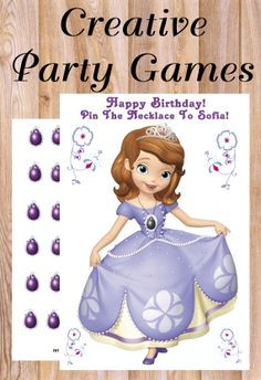 Sofia The First Pin On Sofia's Amulet Party Game! * Personalized *