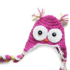 Crochet Baby Hat Pink Awake Owl for Baby Girl Photo Prop. $20.00, via Etsy.