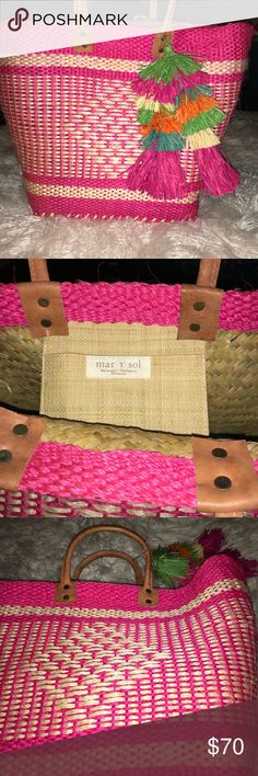 a6e263942607 Mar y sol Ibiza Tassel Tote large beach bag pink Mar y sol Woven sisal  material Double handle Inside features one pocket Approx. x x handle drop  Handmade ...