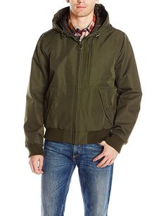GH Bass Men's Campsite Hoody Bomber Jacket, Olive, M