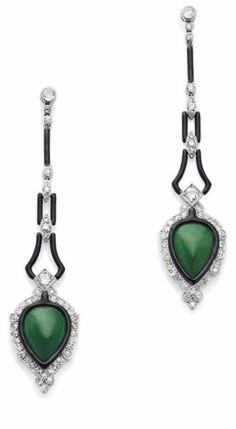 Art Deco. Jade, Enamel and Diamond Earring Pendants, Mauboussin, c1924.