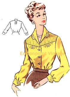 Plus Size or any size Vintage 1950s Blouse by EmbonpointVintage, $4.50