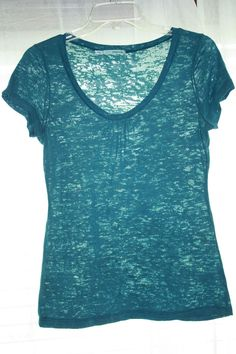 MAURICES teal burnout short sleeve shirt size S #Maurices #Blouse #Casual
