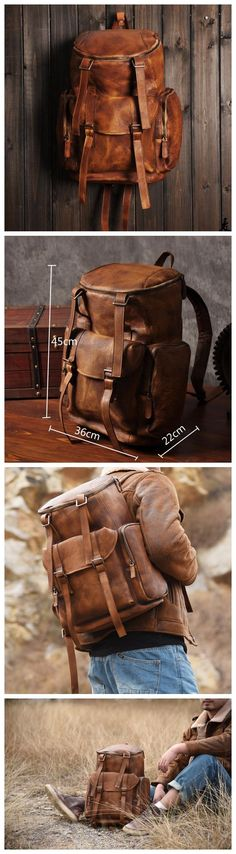 LISABAG--Vintage Handmade Genuine Leather Backpack Casual Rucksack Travel Backpack Hiking Backpack MT06