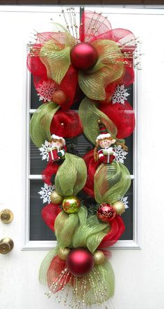 XL Christmas Wreath Deco Mesh Elf Swag Red Lime by Wishfulgifts