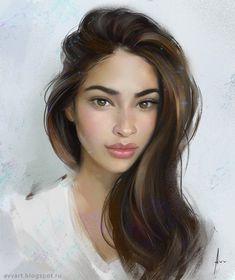Juliana - female portrait digital painting by avvart on DeviantArt Digital Portrait, Portrait Art, Digital Art, Digital Paintings, Female Portrait, Girl Face, Woman Face, Fantasy Magic, Figurative Kunst