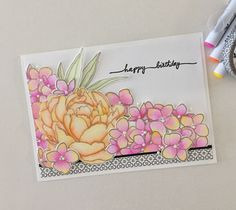 June 2017 Essentials by Ellen Pin Sights Challenge birthday card. EBE Mondo Peony and Mondo Hydrangea stamps and dies, colored with Zig brush markers. EBE Wish Big sentiment stamp.