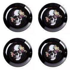 Blooming Skull Plates Set Of 4  sc 1 st  Pinterest & 222 Fifth Skull Bump in the Night 16 piece Halloween Dinnerware set ...