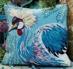 A striking design of an exotic bird. Tapestry Kits, Traditional Interior, Needlepoint Kits, 100 Pure, Colour Images, Crane, About Uk, Exotic, Stitching