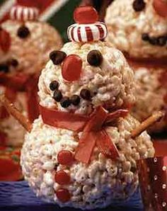 Snowman rice krispies- this would be a cute craft the kids could do and then eat!