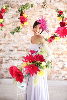 Colorful Paper Flower Wedding Inspiration by Hello Love Photography   SouthBound Bride