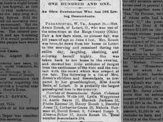 Annie Roush age 101 in 1888 descendants