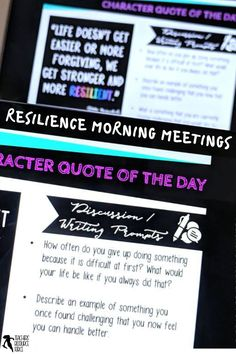 Character Education Morning Meeting Digital Whiteboard and Printable Journal bundle on RESILIENCE, ideal for social and emotional learning. This bundle includes both the PowerPoint and the Journal of the same 20 quotes so you can display the quote on the board while students record their reflections in their journals. This allows for maximum impact and flexibility for you and your needs. #sel #resilience #morningmeeting