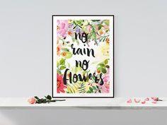 Kunstdruck mit Typo und großem floralen Muster / artprint with flowers and typo by typealive via DaWanda.com