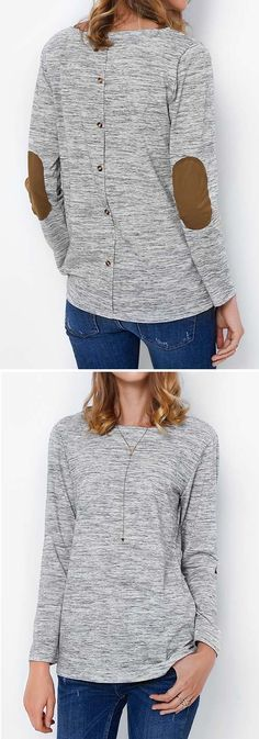 Casual grey look, $19.99! Free shipping! Here is a secret style life-hack tip that every girl needs to know. That is Patch Me If You Can Button Top. The cozy factor is instantly raised! Of course, you'll look ah-mazing as well!