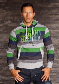 Sweat moltone homme vert/gris fashion 100% coton  par UnCadeauUnSourire.com