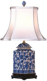 If you're looking for just a touch of blue and white in a room, a lamp may be the way to go. Consider this blue and white floral scalloped porcelain tea jar table lamp. Chinoiserie, Traditional Table Lamps, Tea Jar, Tea Cups, Painting Lamps, China Painting, Blue And White China, Brass Lamp, White Decor