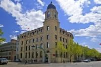 The historic Post Office building located in the city of Lethbridge features a clock tower.