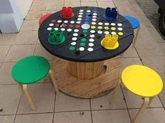 Alte Kabeltrommel wird zu Spieltisch…love this ähnliche tolle Projekte und Id… Old cable reel becomes a gaming table … you will love these similar great projects and ideas as shown in the picture in our magazine. Diy For Kids, Crafts For Kids, Cable Drum, Wood Spool, Diy Coffee Table, Coffee Coffee, Backyard Games, Giant Outdoor Games, Diy Games