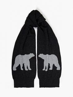 The Christopher Raeburn X Porter Men's Polar Bear Knit Scarf for AW14, seen here in grey.   Showcasing the polar bear motif seen throughout Christopher Raeburn's AW14 collection, this scarf references the Arctic images of Icelandic photographer Ragnar Axelsson. Produced in collaboration with premium wool producer Woolmark, it is a luxuriously soft piece.