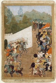 """The Battle of Shahbarghan"", Folio from a Padshahnama (Chronicle of the Emperor) Object Name: Folio from an illustrated manuscript Date: 17th century Geography: India Culture: Islamic Medium: Ink, opaque watercolor, and gold on paper Dimensions: 13.62 in. high 9.12 in. wide (34.6 cm high 23.2 cm wide) Classification: Codices Credit Line: Purchase, Bernard and Audrey Aronson Charitable Trust Gift, in memory of her beloved husband, Bernard Aronson, 1986 Accession Number: 1986.283"