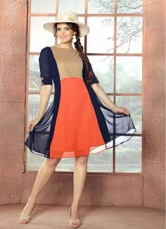 Cotton  and Georgette Beige, Navy Blue and Orange Fancy Tunic