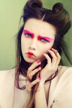 Colour, eye makeup, hair,