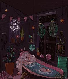Memento Mori, apollinaresart: a psychic's bathroom [feat. Aesthetic Drawing, Aesthetic Art, Aesthetic Anime, Witch Art, Witch Aesthetic, Dark Art, Pixel Art, Art Inspo, Gifs