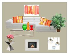 Modern livingroom by anne-lise-knoph on Polyvore featuring interior, interiors, interior design, home, home decor, interior decorating, Driade, Design Within Reach, Pillow Decor and Kartell