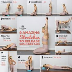 Amazing Stretches To Release Shoulder Pain Fix achy shoulder pain with these feel-good stretches you can do anywhere. Get all exercises hereFix achy shoulder pain with these feel-good stretches you can do anywhere. Get all exercises here Yoga Fitness, Fitness Tips, Fitness Motivation, Health Fitness, Health Yoga, Fitness Memes, Workout Fitness, Motivation Quotes, Fitness Goals