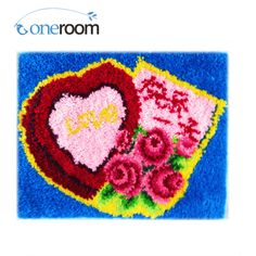 Cheap love love, Buy Quality flower flower directly from China flower floor Suppliers: ZD225 Love and Flowers 5TH Hook Rug Kit DIY Unfinished Crocheting Yarn Mat Latch Hook Rug Kit Floor