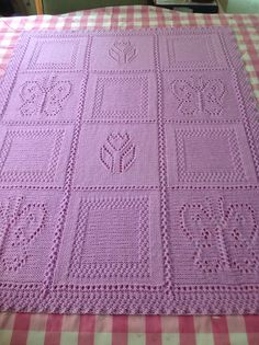 """Knitting Pattern for Butterfly and Flower Blanket by Sirdar #ad The blanket is knitted in one piece and features panels of eyelet flowers and butterflies with squares outline in double moss stitch, with a double moss stitch border. approximately 70 x 84cm. You have to """"order"""" and checkout and they'll send you a link to download."""