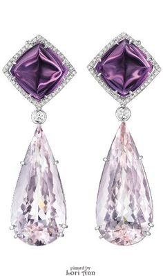 Morganite, Amethyst, & Diamond Earrings by Margherita Burgener