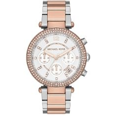 Michael Kors Rose Gold And Silver Parker Chronograph Bracelet Watch