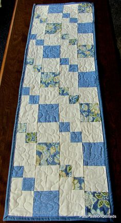 Blue and White Patchwork Table Runner by PatsPassionQuilteds