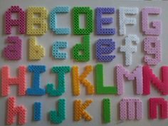 Disney Princess themed colored alphabet. Perlar,Hama beads