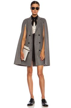 VALENTINO | Mid Length Cape Sleeve Wool-Blend Coat in Grey Melange