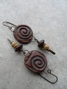 Petroglyph ... Red Stoneware Clay and Czech Glass Wire-Wrapped Earrings