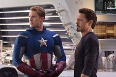 Chris Evans and Robert Downey Jr. in The Avengers 2012 Movie Image 600x399 CONFIRMED: Robert Downey Jr To Return As Iron Man In THE AVENGERS Sequels